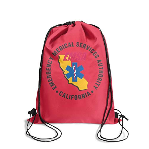 California Emergency Medical Services Authority Logos Drawstring Backpack Cute Sacksackpack Reusable Bag