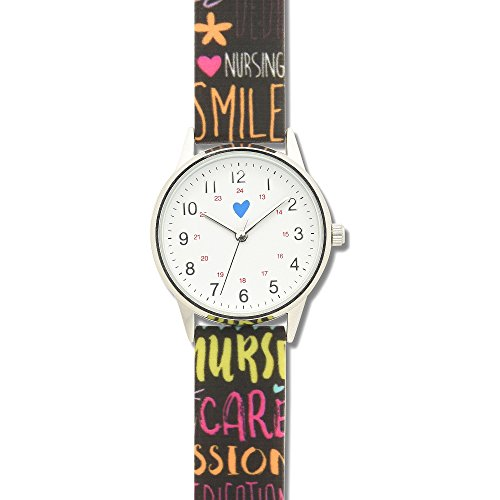 Nurse Mates Women's 1″; Strap Nurse Watch Pop Art