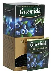 [2 PACK] black tea Greenfield BLUEBERRY NIGHTS Beverages Grocery Gourmet Food [25 of tea bags in 1 PACK]