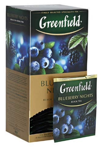 [2 PACK] black tea Greenfield BLUEBERRY NIGHTS Drinks Grocery Connoisseur Meals [25 of tea bags in 1 PACK]