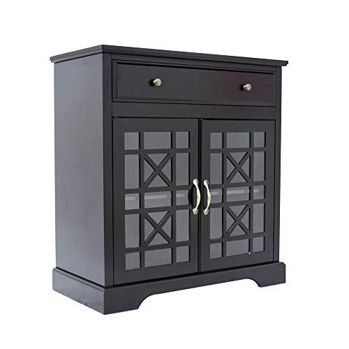 Media Cabinet Antique Black (Circlelink Accent Storage Cabinet with Double Glass Door for Living Room and Bathroom, Black)