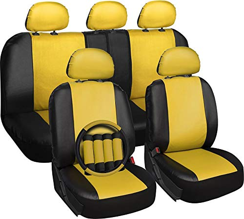 Motorup America 17 Piece Leather Seat Cover Set - Fits Select Vehicles Car Truck Van SUV - Yellow & Black