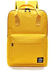 Pulama Solid Color Backpack Top Handle School Bag Canvas Shoulders Bag Yellow