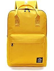 Pulama Solid Color Backpack Top Handle School Bag Canvas Shoulders Bag Yellow