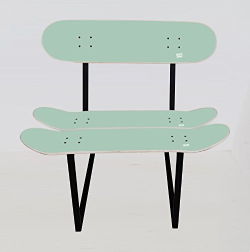 Skateboard Chair Benihana mint colour. Wooden chair and metal structure. Best gift idea.