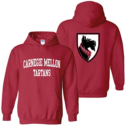 (AH46 - Carnegie Mellon Tartans Front and Back Print Hoodie - Small - Cardinal)