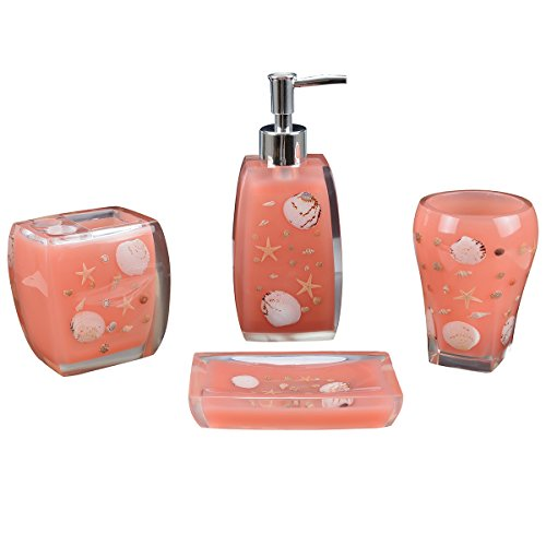 peach bathroom accessories. AIMONE 4 Pieces Resin Bathroom Accessories Set Complete  Soap Dish Lotion Dispenser Tumbler Toothbrush Holder Natural Ocean Series Starfish And Seashell