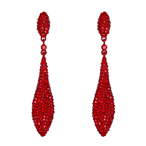 EVER FAITH Women's Austrian Crystal Double Waterdrop Bridal Pierced Dangle Earrings Red Red-Tone