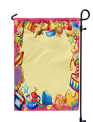 (Soopat Music Theme Seasonal Flag, Banner with Toys Toy Cartoon Plane Train Wood Wooden Weatherproof Double Stitched Outdoor Decorative Flags for Garden Yard 12''L x 18''W Welcome Garden Flag)