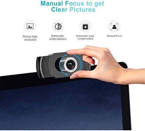 Camara web 1080P HD con micrófono, cámara web de computadora USB para computadora portátil, reducción de ruido, visión de ángulo amplio de 105 ° para streaming, confrencia de zoom, juegos, YouTube Skype FaceTime. (Negro) 41rQZATPhNL