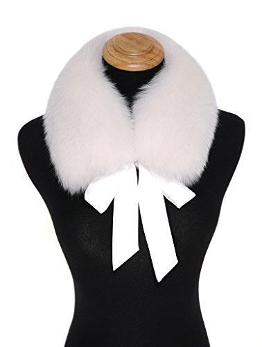 Ferand Ladies Stylish Genuine Fox Fur Collar Scarf with Satin Ribbon - (Collar Scarf)