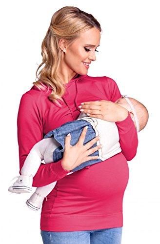 Top A Fucsia Cappuccio Donna Felpa Prémaman Strati Happy Per Mama L'allattamento 272p 0qapFY