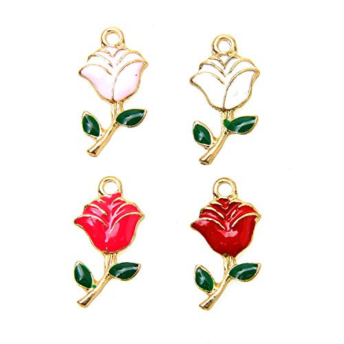 Monrocco 24Pcs Rose Flowers Charms Enamel Rose Flowers Bracelet Charms Pendants for Jewelry Making, ()