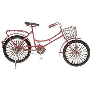 Pink Metal Bike with Basket (Wall Metal Basket Bicycle)
