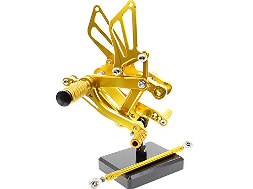 FXCNC CNC Motorcycle Rear Footrests Footpegs Foot Peg For KAWASAKI Ninja ZX6R ZX636 2003-2004 Gold (Sportster Rear Foot Controls compare prices)
