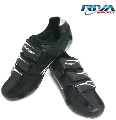 Riva Sports Cycling Shoes Black Shimano SPD SL & Look Keo 45cm For Bike Bicycle