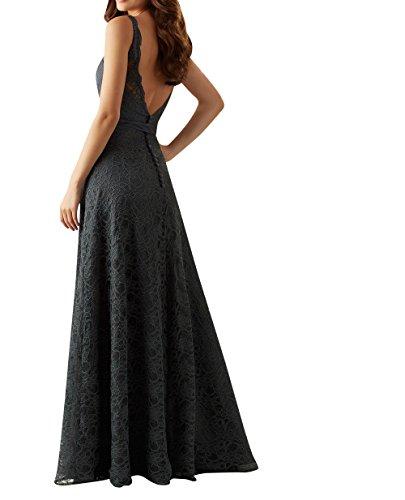 Brautjungfernkleider Ballkleider Damen Violett Abendkleider mit Guertel Dunkel Partykleider Langes Spitze Charmant Etuikleider Elegant 4pWYqqf
