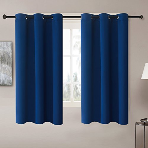 Solid Thermal Insulated Blackout Window Curtains / Draperies / Panels for Bedroom/ Living Room/Sliding glass doors Top Fation Grommet by Alice Brown (2 Panel,W42 x L63 –Inch,Navy Blue) (Blue Curtains And Brown With)
