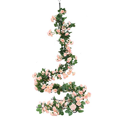 Luyue 2 Pack 69 Heads Artificial Rose Vine Flowers Garlands Decorations Floral Hanging Garden Craft Rose Ivy Plants for Wedding Arch Arrangement (Light Pink) (Wholesale Garland)