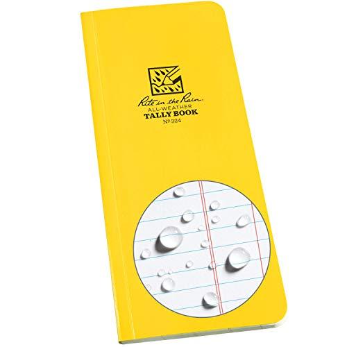 Rite in the Rain Weatherproof Soft Cover Tally 8 x 3.5 x 0.375, Yellow