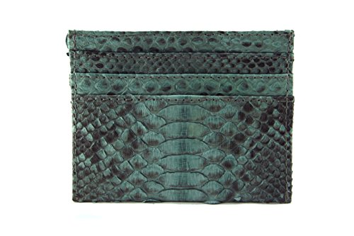 Python Card - Genuine Grey Motif Python Leather Slim Card Holder with 6 Slots and 1 Open Compartment