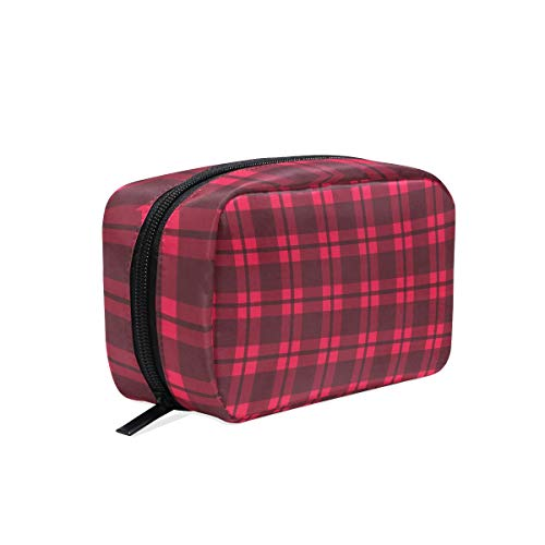 Makeup Bag Cosmetic Pouch Clutch Lumberjack Plaid Red -