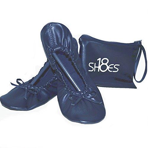 Foldable Women's 18 Carrying w Shoes Portable Navy Shoes Travel Case Ballet 1 sh18 Flat Matching fEwqd5dv