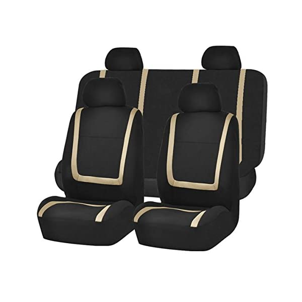 FH Group FH FB032115 Unique Flat Cloth Seat Covers  Fit Most Car, Truck, SUV, Or Van