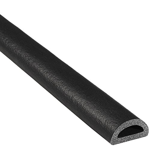 "Trim-Lok D-Shaped Rubber Seal – EPDM Foam Seal with HT (General Acrylic) Pressure Sensitive Adhesive System – Ideal Door and Window Weather Seal for Cars, Trucks, RVs, and Boats – 0.375"" Height, 0.75"" Width, 25' Length Purpose Adhesive Light Strip"