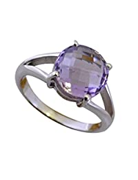 CaratYogi Natural Amethyst Silver Ring for Women Round Checker Cut Gorgeous Fashion Jewellery Sizes 5-12