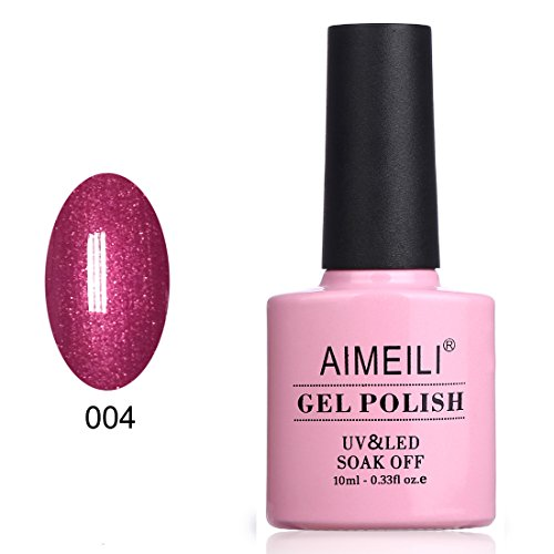 AIMEILI Soak Off UV LED Gel Nail Polish - Red Baroness (004) 10ml -