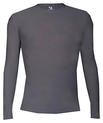 Badger Adult Pro-Compression Long Sleeve Crew, Graphite, ()
