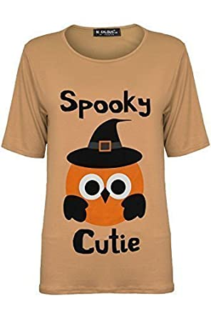 bf6be6d965a1 Womens Halloween Top Spooky Cutie Ladies Oversize Baggy Round Neck Stretchy  Cap Sleeve Tee T-Shirt: Amazon.co.uk: Clothing
