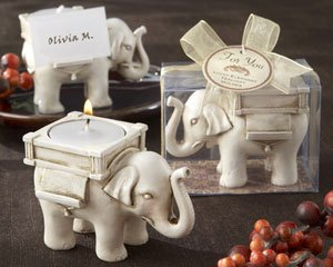 ''Lucky Elephant'' Antique Ivory-Finish Tea Light Holder - Set of 25 by Kateaspen