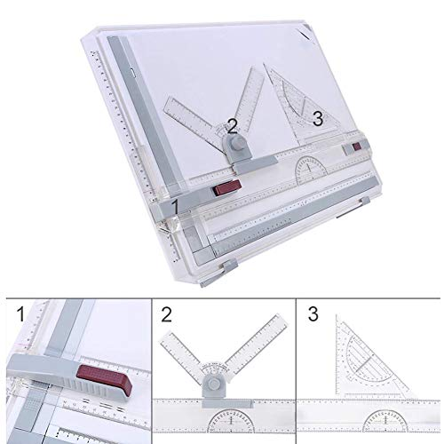 ExGizmo A3 Drawing Table Board, Adjustable Measuring System Angle Parallel Motion Drawing Board