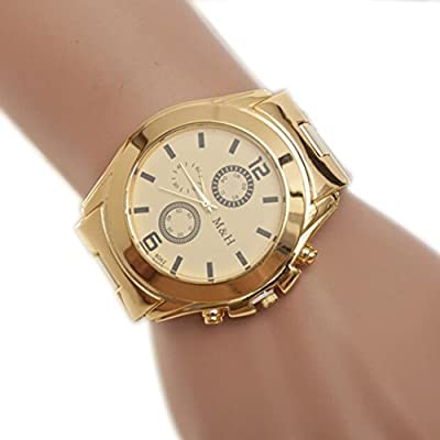 Creazy Stainless Steel Sport Quartz Wrist Hour Gold Bracelet Big Dial Watch from CreazyDog