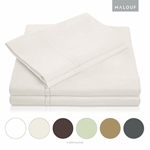 MALOUF 600 Thread Count Genuine Egyptian Cotton Single Ply Bed Sheet Set - Queen - Ivory