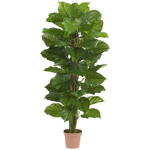(Nearly Natural 6594 Large Leaf Philodendron Decorative Silk Plant, 63-Inch, Green)
