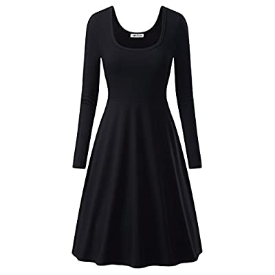 MsBasic Women Simple Designed Long Sleeve Round Neck Casual Flared Midi Dress