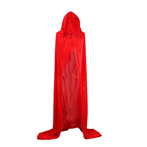 Ccassie Velvet Unisex Full Length Halloween Long Capes Christmas Party Cape Role Cape Cosplay Costumes Masquerade Cloak Hooded(R-170) - Red Hoodie Christmas Costumes