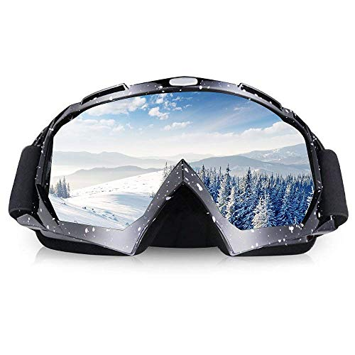 ThyWay Ski Motorcycle Goggles, Anti UV Anti Scratch Dustproof Windproof Safety Unisex Goggles Fit for Snow Skiing, Cycling, Climbing, Riding & Outdoor Sports Eyewear Colorful Lens Glasses (Black 1)