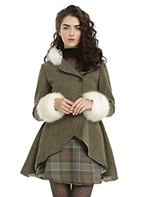 Outlander Claire Fraser Riding Trench Coat with Faux Fur Trim Hood & Cuffs (3X)