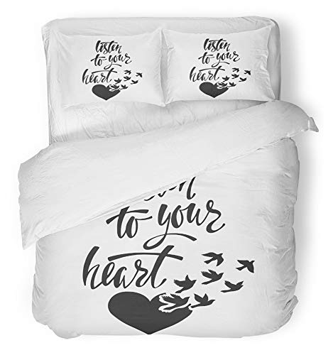 Emvency 3 Piece Duvet Cover Set Breathable Brushed Microfiber Fabric Listen to Your Heart Inspirational Saying About Happiness Modern Calligraphy Bedding Set with 2 Pillow Covers Full/Queen Size