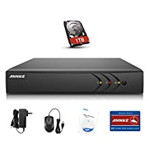 ANNKE H.264+ 8 Channel 1080P lite CCTV DVR Recorder with 1TB Hard Disk for Security Camera System (P2P Remote Email Alert with Images)