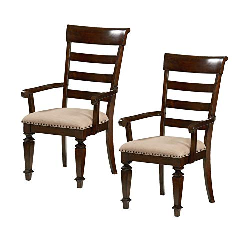 Wood & Style Furniture Charleston Arm Chair 2-Pack Brown Home Office Commerial Heavy Duty Strong Décor