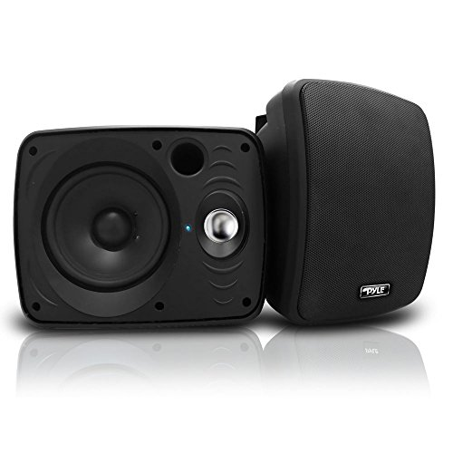 Outdoor Waterproof Wireless Bluetooth Speaker - 6.5 Inch Pair 2-Way Weatherproof Wall/Ceiling Mounted Dual Speakers w/Heavy Duty Grill, Universal Mount, Patio, Indoor Use - Pyle PDWR64BTB (Black)