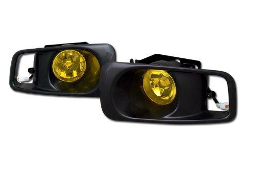 JDM YELLOW CLEAR FRONT BUMPER FOG LIGHTS LAMPS+SWITCH 99-00 HONDA CIVIC 2D/3D/4D HS Power
