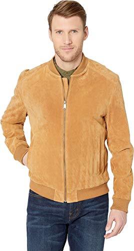 Cole Haan Men's Suede Zip Front Water Resistant Jacket Tan -