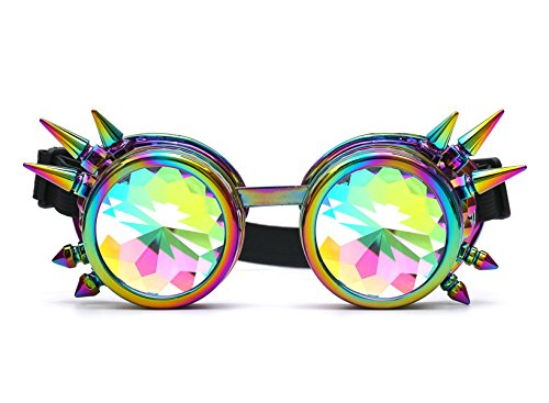 Lelinta Rainbow Crystal Lenses Steampunk Glasses Chrome Finish Gotchic Welder Goggles (Punk Crystal)
