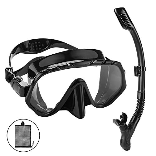 Oumers Dry Top Snorkel Set - Anti-Fog Snorkel Mask Impact Resistant Panoramic Tempered Glass, Free Breathing Anti-Leak Dry Top Snorkel and Gear Bag, Professional Snorkeling Set for Adult Youth ()